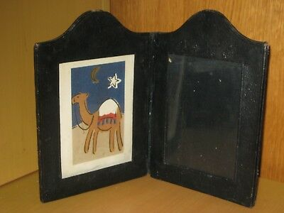 Vintage Double Sided Folding Black Leather And Glass Photo Holder.
