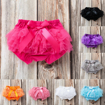 Toddler Infant Girl Bowknot Ruffle Bloomer Nappy Underwear Panty Diaper Cover UK