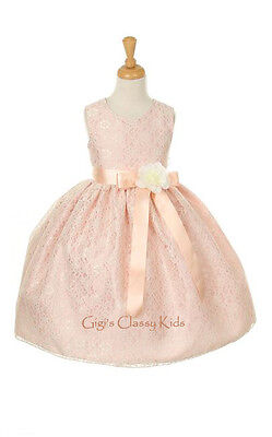 New Flower Girls Peach Rose Lace Dress Build Ribbon Color Pageant Easter 1132