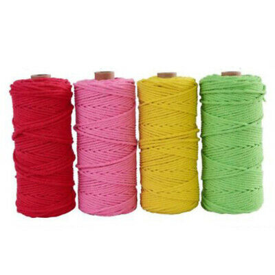 100% Natural 12 Colour Cotton Twisted Cord Craft Macrame Artisan String 3mm*100m