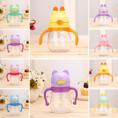 200ml Baby Sippy Drinking Water Bottle Cup Straw Toddler Infant Children