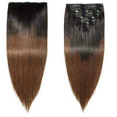 "Extensiones de Cabello (18""(45cm)-140g 1BT4# Natural Negro ombre Medium Brown)"