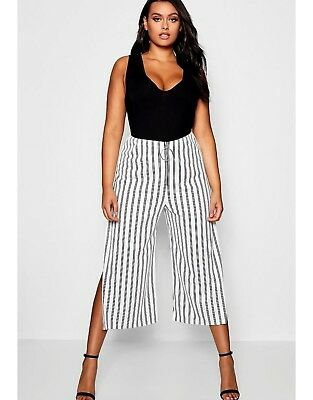 Boohoo Plus Ashleigh Stripe O Ring Culottes White Size 20 BNWT
