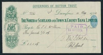 Great Britain: NORTH OF SCOTLAND & TOWN & COUNTRY BANK 1924 Cheque + Duty Stamp