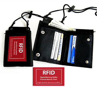RFID Blocking Leather Neck Strap ID Badge Credit Cards Holder Zip Lanyard Wallet