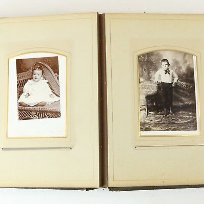Antique Family Photo Album Late 1800s-1900s, 38 Photos - CDVS RPPC Gold Gilt
