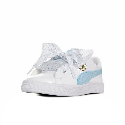 new styles 78cc7 07bbf CHAUSSURES BASKETS PUMA fille Basket Heart Stars Ps taille Blanc Blanche  Cuir