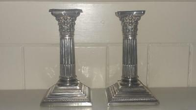 Pair of Fine Small Antique Neo Classical Corinthian Silver Plated Candlesticks