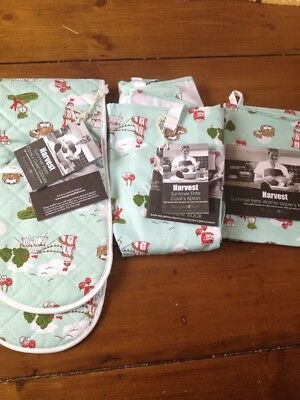 Burgon & Ball Summer Fete Set Apron Tea Towel Oven Gloves Bundle New Tagged And