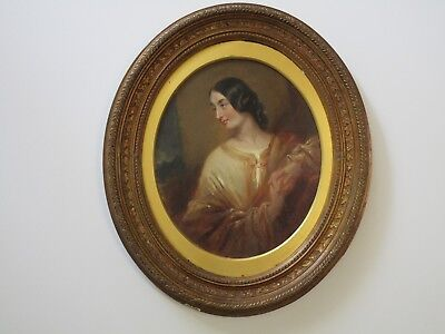 Antique Painting 19th Century Masterful Estate Pretty Woman Female Model Mystery