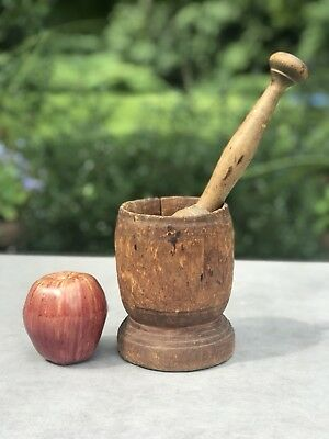 Old Antique Treenware Wood Mortar And Pestle Halloween Prop