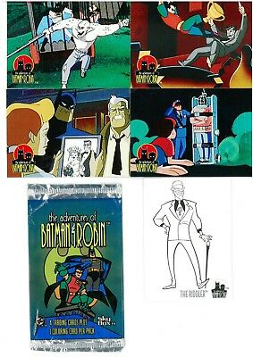 The Adventures of Batman & Robin x 4 Trading Cards 1995 + 1 x Riddler Subset HTF
