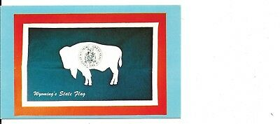 Vintage pc,Wyoming State Flag, buffalo, Wyoming Travel Commission casrd