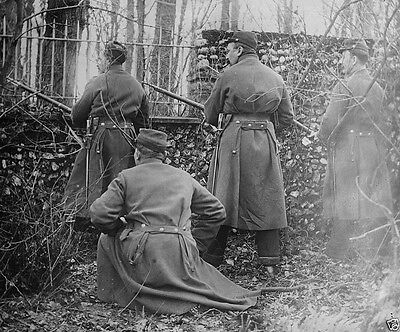 French soldiers guarding a chateau 1914 World War I 8x10 Photo
