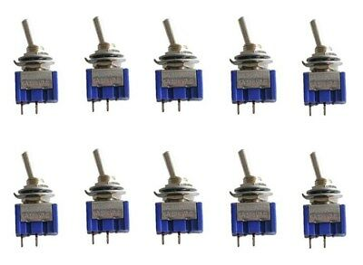 10Pcs 2 Pin SPST ON-OFF 2 Position 250VAC Mini Toggle Switches MTS-101 US Stock