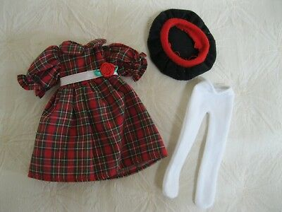 """Madeline 8"""" Doll Red Plaid Holiday Dress White Tights Black Beret Excellent!!"""
