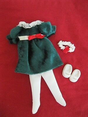 """Madeline 8"""" Doll Green Velour Dress W/bow White Tights Mary Janes Headband Exc!!"""