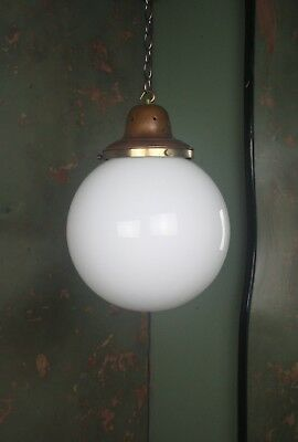 Large Opaline Globe Light Lantern Antique Lighting Pendant Copper Industrial