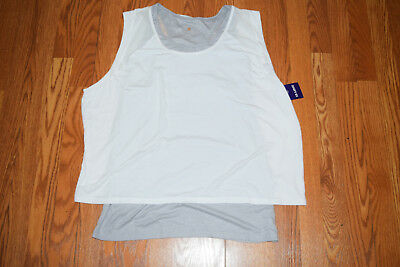 NWT Womens TANGERINE White Gray Exercise Active Fitness Tank Top Shirt 2XL XXL