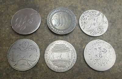 Six Seated Liberty Silver Quarter Love Tokens No Reserve Lot #2