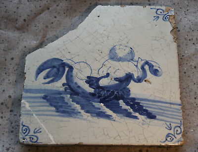 17th Century Delft Tile - Sea Monster