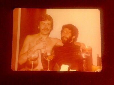 COCKTAIL HOUR! 70's GAY Photo: Handsome Male Duo Hold Hands; One is Bare Chested