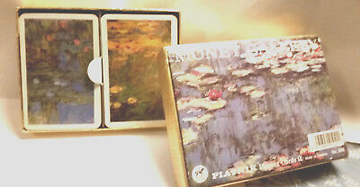 """PIATNIK 2Deck Playing Cards md in Austria """"Water Lillies"""" by Monet, excl. cond."""