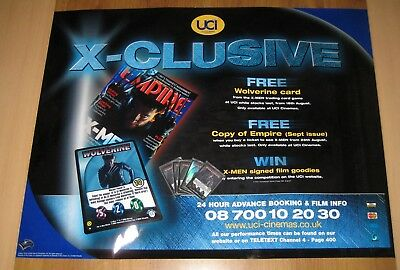 Rare X-Men Movie 2000 quad poster & 5 Wizards Wolverine Holo trading cards