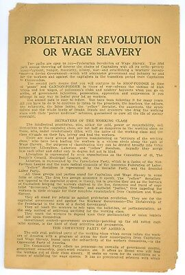 Vintage 1920s Communist Party USA Political Cause Pamphlet Wage Slavery