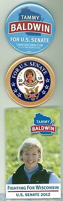 2 Official 2012-18 US Senator Tammy Baldwin Political Gay Voters Pinback Buttons