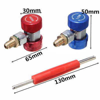 R134A A/C High Low Manifold Quick Coupler Adapter Connector&Valve Remover Tool