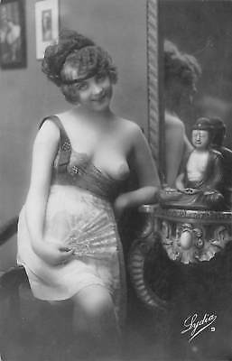 Beautiful nude woman - vintage 1920s RPPC real photo French postcard pinup #X-6