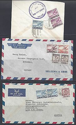 IRAQ 1950's THREE AIR MAIL COVERS FRANKED AIR MAIL ISSUES OF 1949 FROM MOSUL BAG