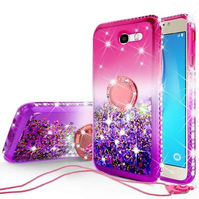 Samsung J7 SKY PRO Diamond Liquid Glitter Ring TPU Pink Case Neck Strap Cover