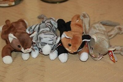 Ty Beanie Baby Babies Lot 4 CATS Scat, Prance, Pounce, Chip