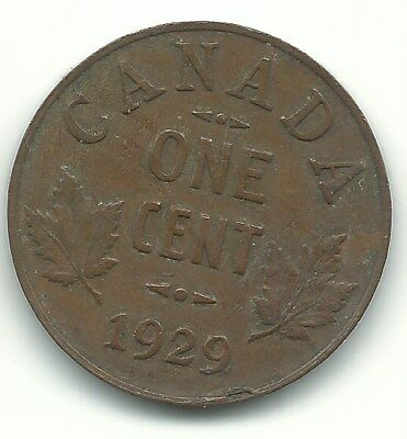 Very Fine Vf Condition 1929 Canada Small One 1 Cent Coin-Agt417