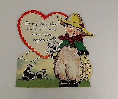 "Vintage 1940's Valentine Card Little Cowboy Cactus Bouquet Ropes 3 1/2"" x 2 1/2"""