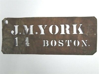 Antique Brass STENCIL Jacobs Bros Co JM YORK 14 BOSTON