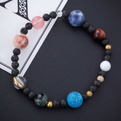Charm Natural Stone Beads Galaxy Solar System Eight Planets Theme Weave Bracelet
