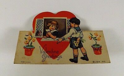 "Vintage 1940's Valentine Card Boy & Girl in Window in Heart 3 1/2"" x 2 3/4"""""