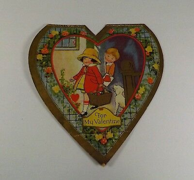 "Vintage 1940's Valentine Card Girl w /Basket Boy w/Heart Card 5"" x 4 3/4"""