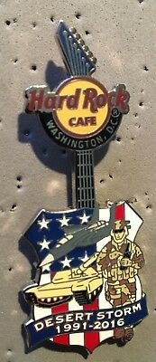 Hard Rock Cafe *WASHINGTON, DC* US FLAG, SOLDIER, TANK DESERT STORM GUITAR PIN