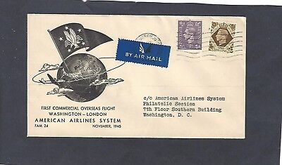 1945 First Flight-London To Washington,dc-American Airlines-Fam 24