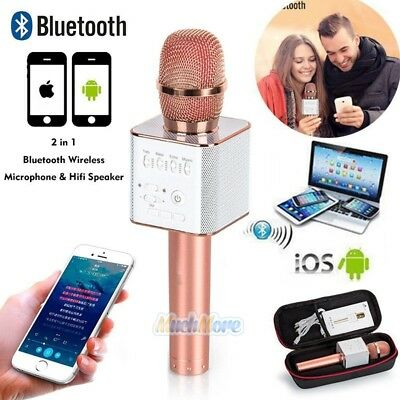 Q9 Wireless Bluetooth Karaoke Microphone USB Speaker Mini Home KTV Rose Gold USA