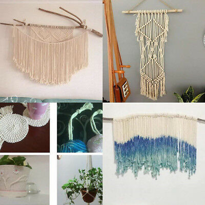 6mm Macrame Rope Decor Natural Beige Cotton Twisted Cord Artisan Handmade Craft