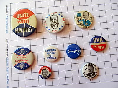 Lot of 9 Campaign buttons for HUBERT H. HUMPHREY for President 1968 Election #2