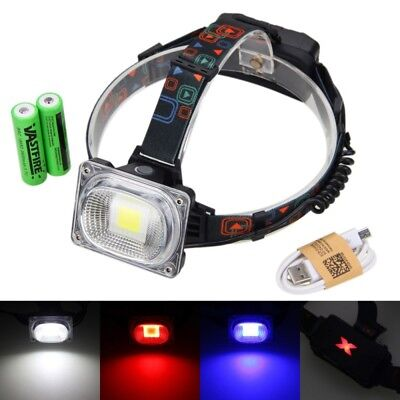 3000LM 10W COB LED USB Headlamp HeadLight Rechargeable 18650 Camping Light Torch