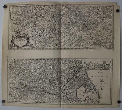 Rhine River Flow Netherlands Germany Switzerland 1680 De Wit Large Antique Map