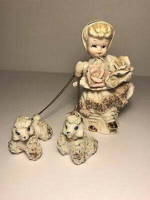 Rare Vintage Royal Sealy Japan Girl With Flowers Walking Two Poodles Chain Leash