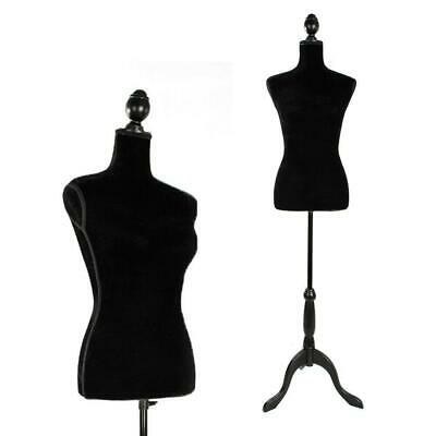 Female Mannequin Torso Dress Clothing Form Display Black Tripod Stand Coat Model
